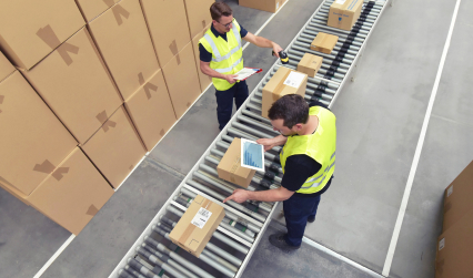 handling packages on the assembly line