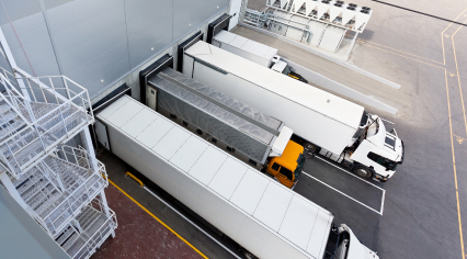 Large distribution warehouse with gates for trucks