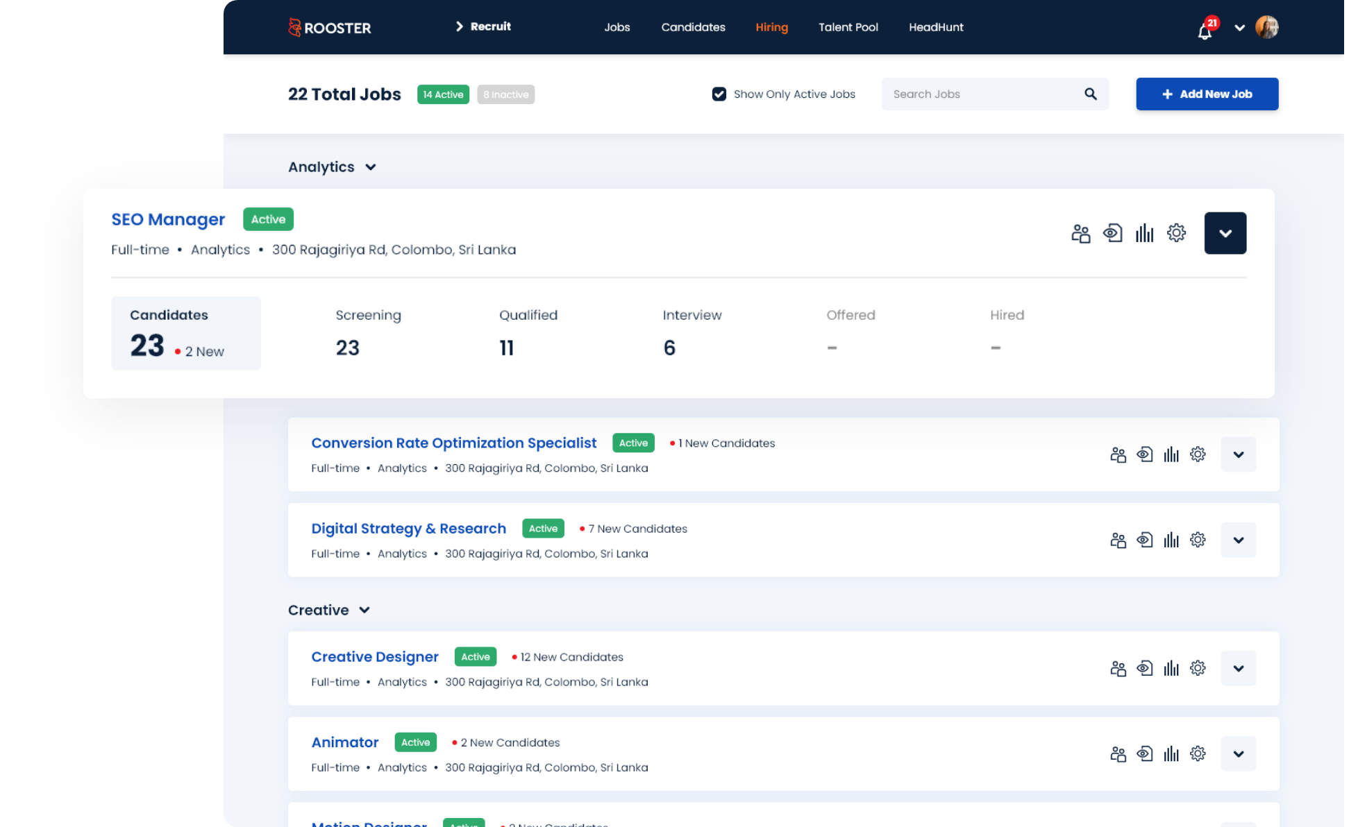 Rooster Dashboard