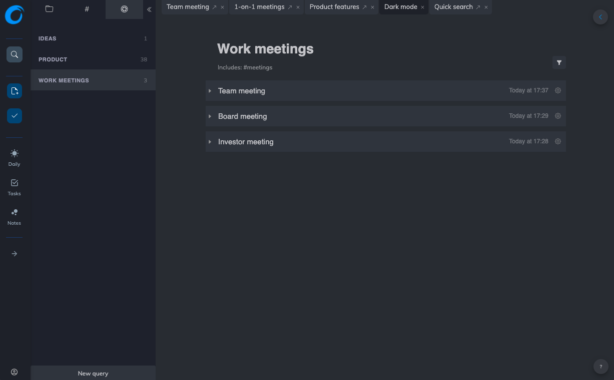 Note-taking with blocks and queries