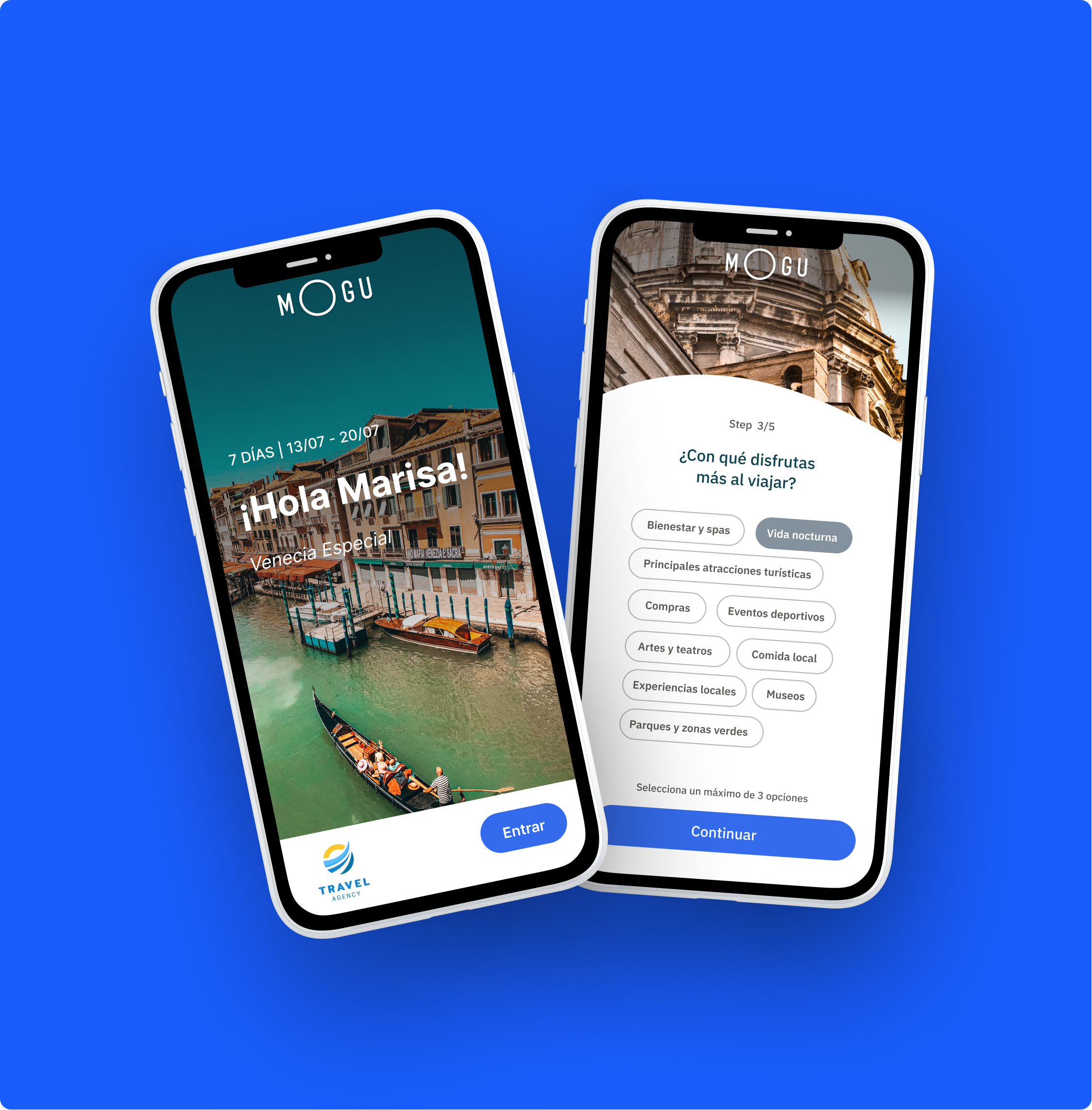 Two views of the application of MOGU, the introduction of the trip and the form regarding traveler interests