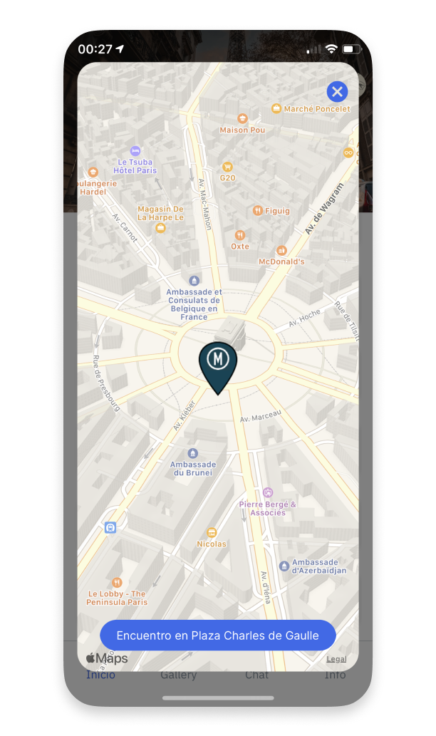 The location of the group in real time on MOGU's mobile application.