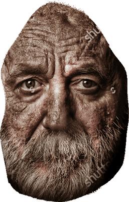 En eldre skummel mann kommer frem fra mørket