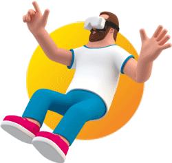 Illustration homme faisant de la VR