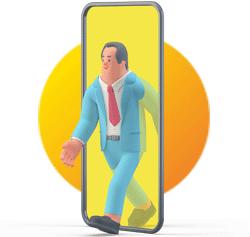Illustration homme sortant d'un smartphone