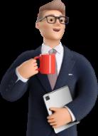 Illustration homme d'affaire avec une tablette et une tasse