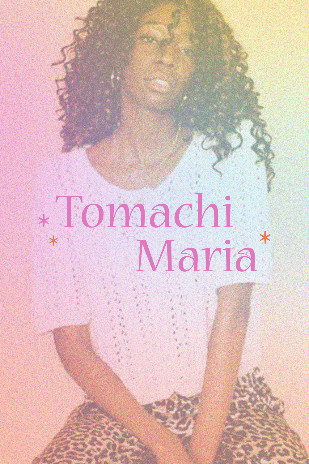 Showcasing the Tomachi Maria logo. The logo is display over an image of a young woman, there is a colourful gradient, and grain affect applied to her image.