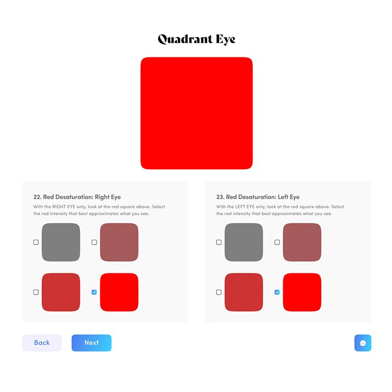 screenshot of quadrant eye online eye health test