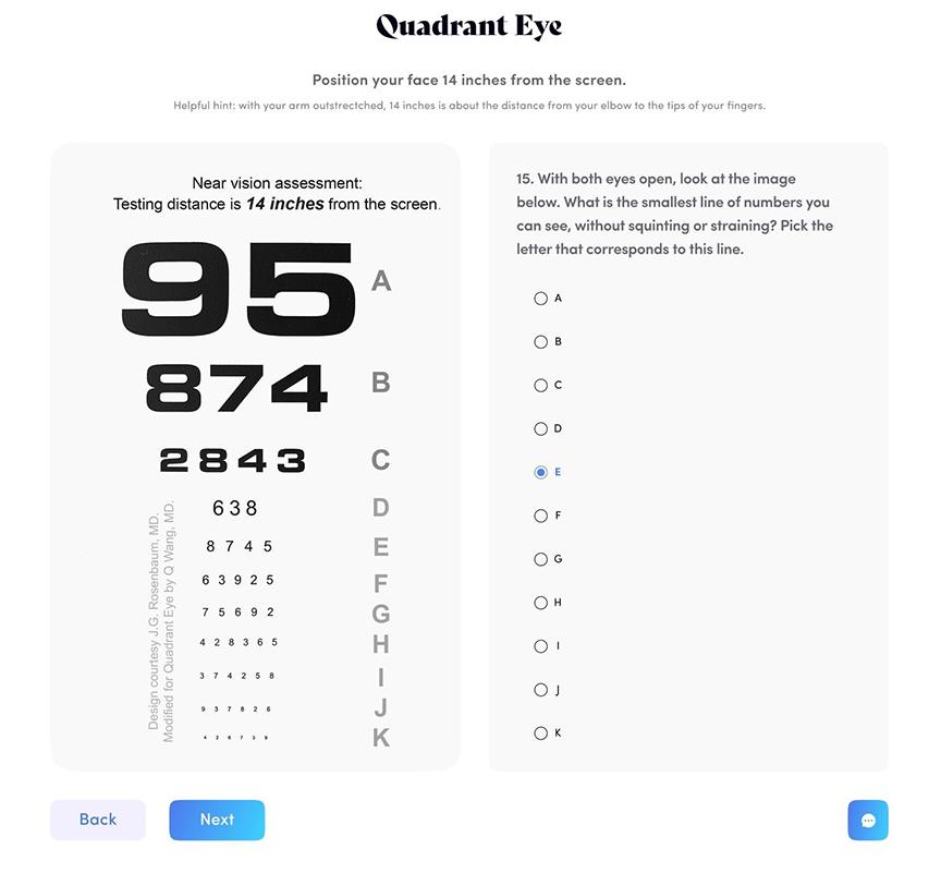 screenshot of quadrant eye visual acuity health test