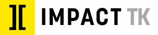 Impact TK Logo: A yellow box with two black brackets positioned back to back to make a capital I. To the right the words IMPACT TK