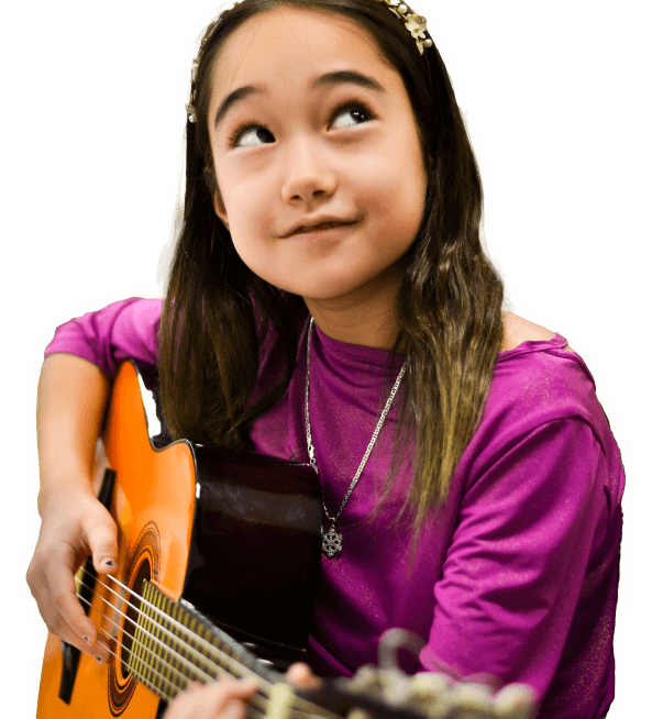 Kids learning guitar in group lessons after-school or online with FineArtsMatter
