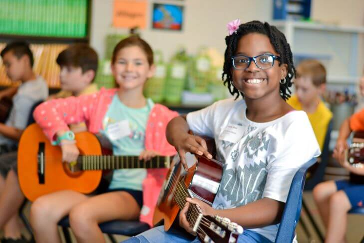 Students learning guitar in group lessons after-school or online