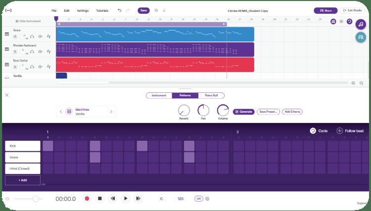 Soundtrap Beat Making software UI
