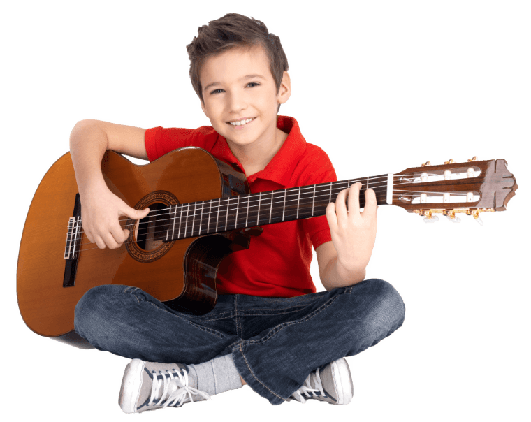 boy guitar student in private at home lessons