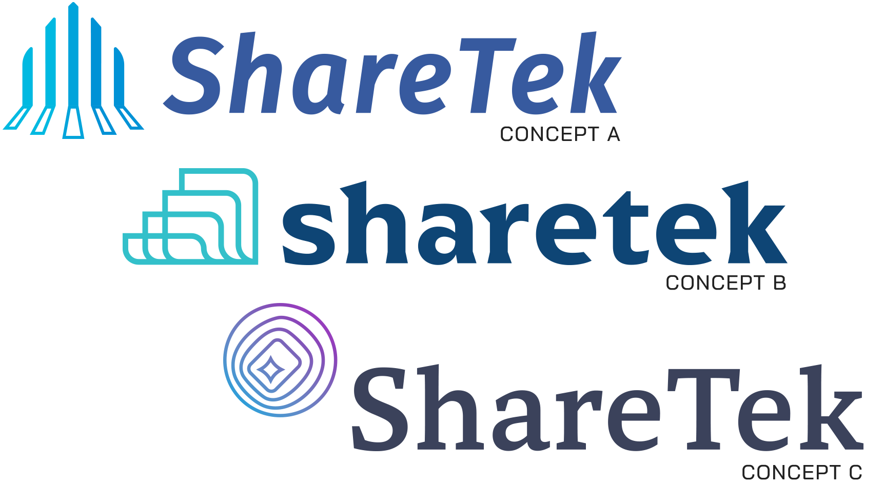 Presented logo concepts to ShareTek from top to bottom, Concept A: The Update, Concept B: The Evolution, and Concept C: The Departure.