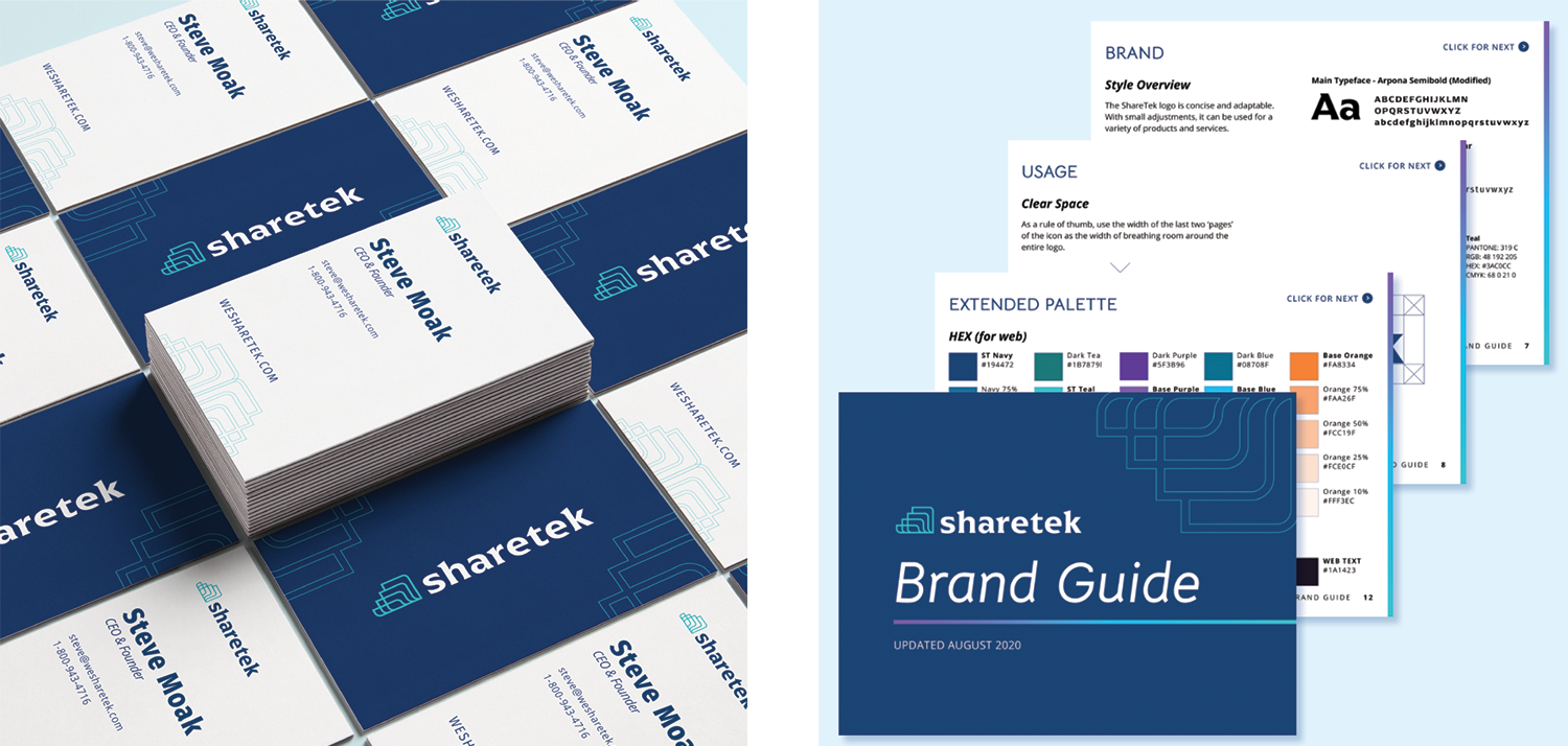 Overhead view of ShareTek business cards for the CEO Steve Moak and some select pages from ShareTek's brand guide.