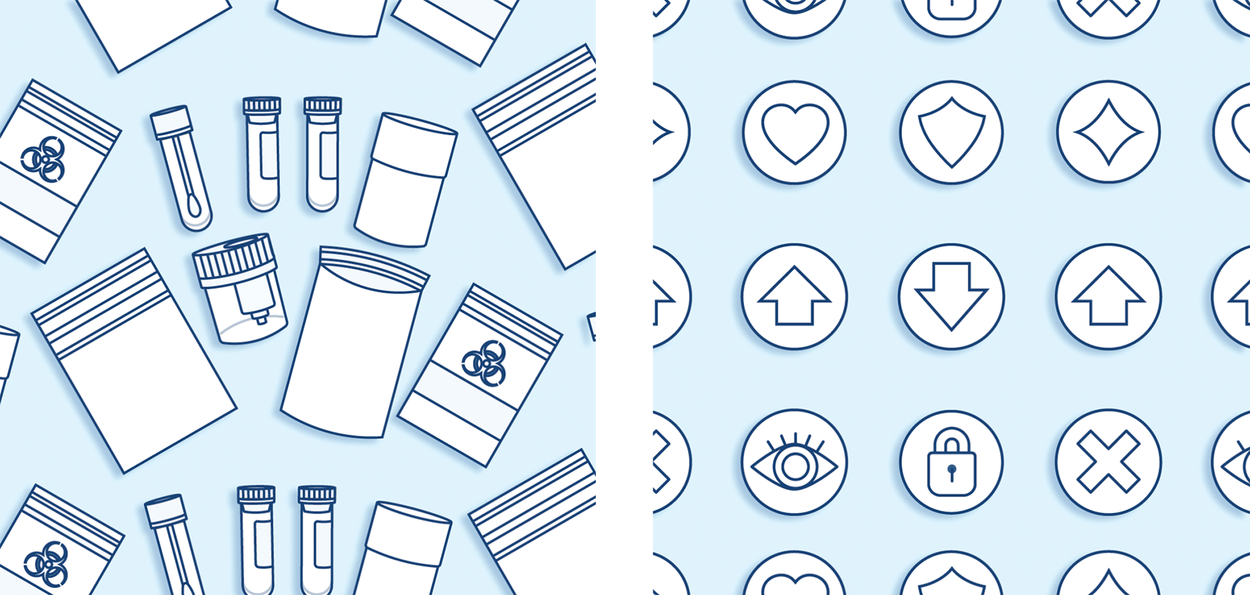Showcase of some custom icons for ShareTek including a complete drug testing kits and some icons.
