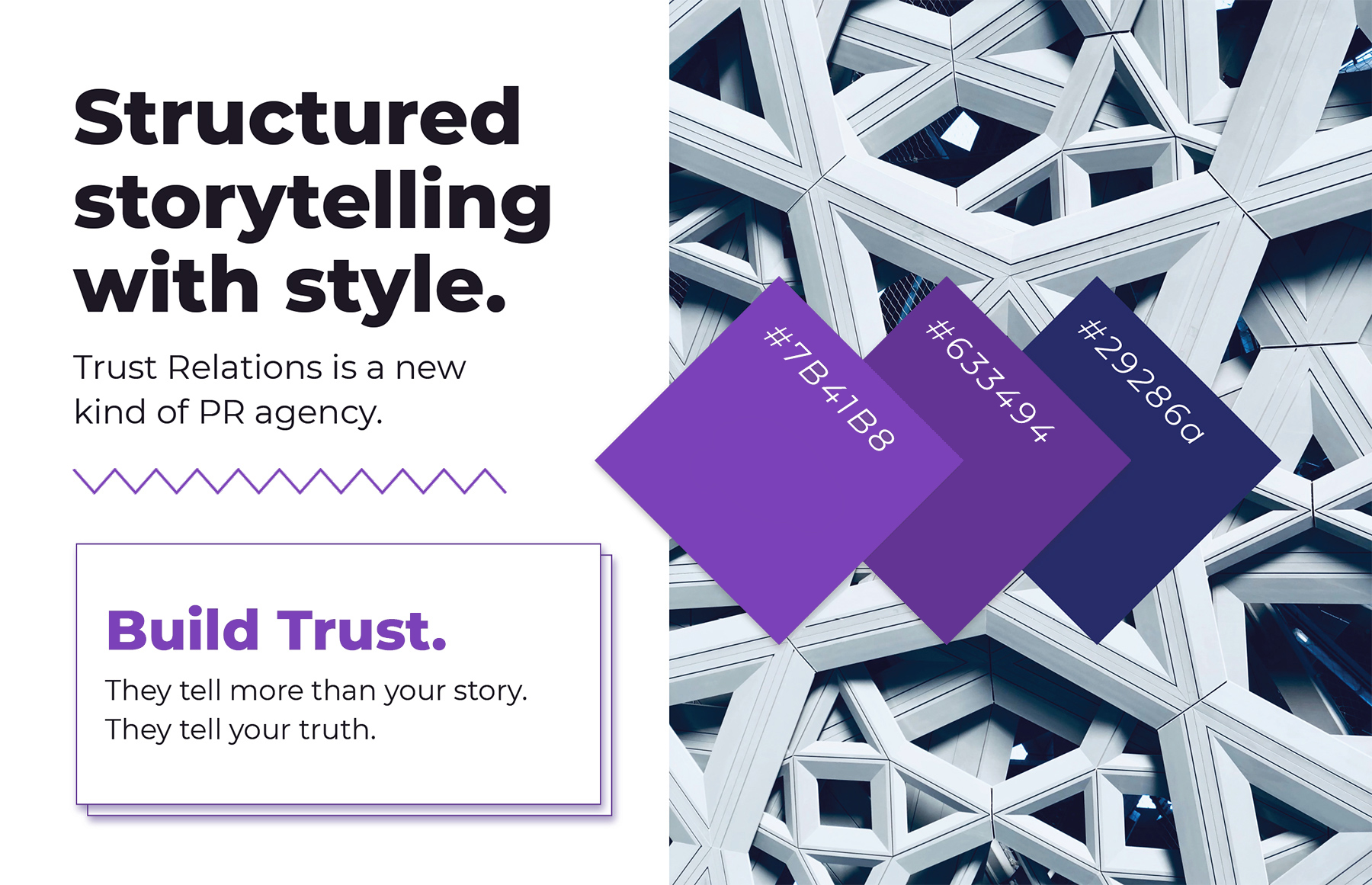 The Trust Relations moodboard which shows a palette of cool blues and purples with architectural artifacts in a close up of a building and in shapes like boxes and zig zag lines
