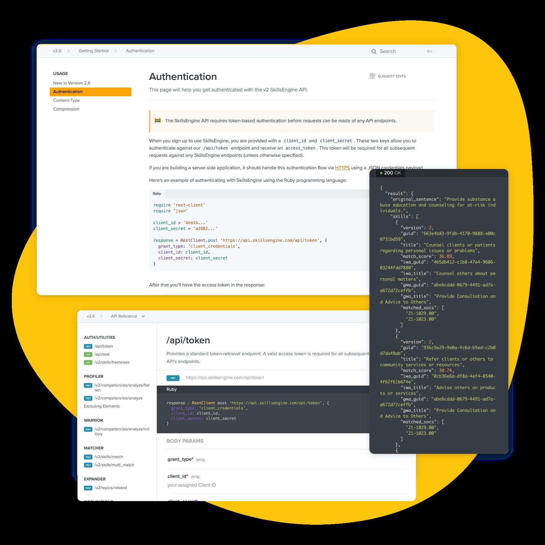 Graphic showing screenshots of  SkillsEngine's Skills Analytics services and developer documentation