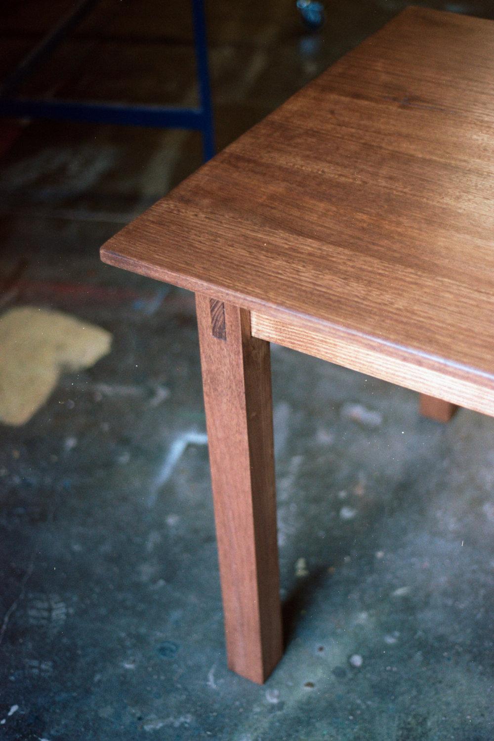 Corner close-up shot of study table top