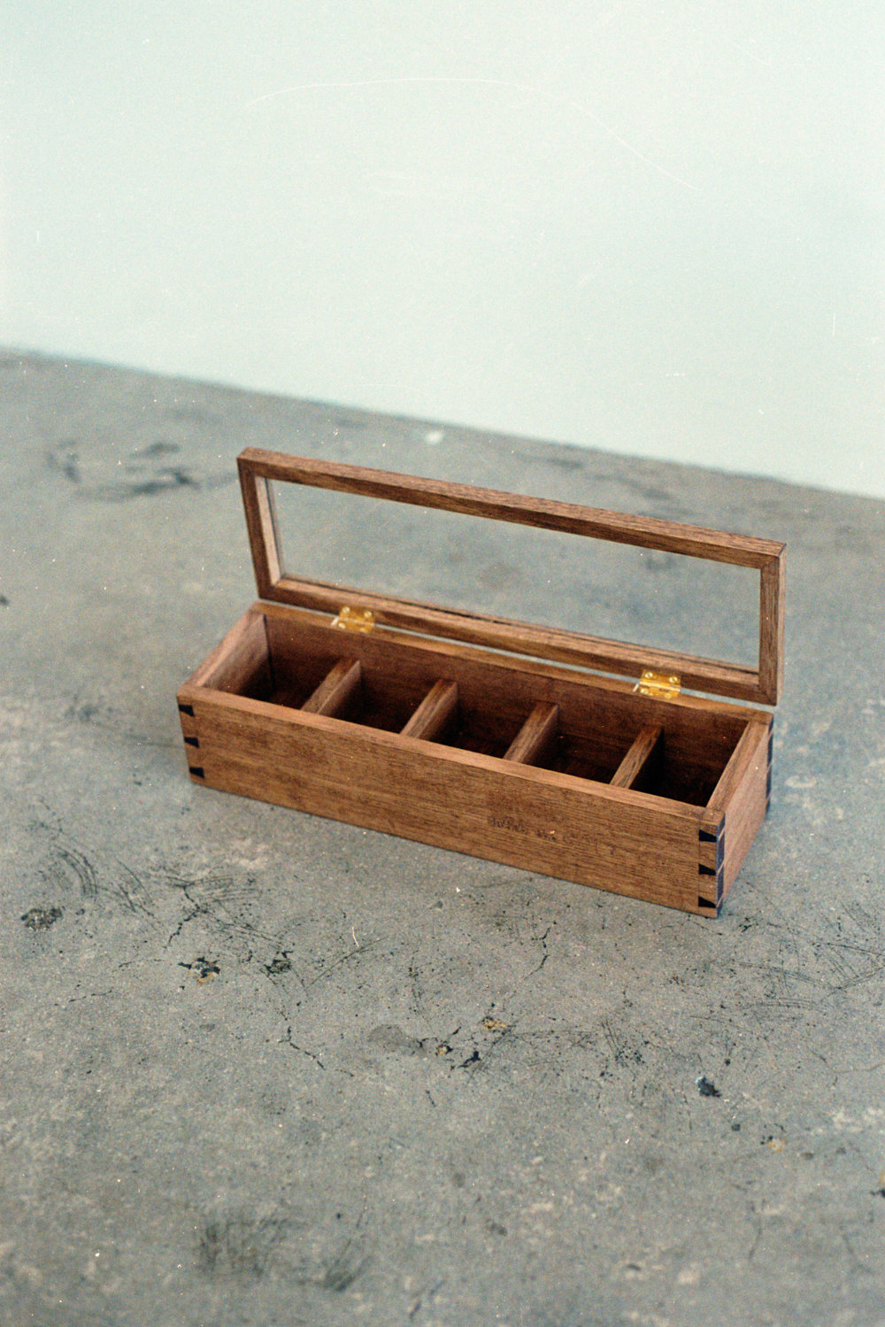 Oak watch-box with glass and brass details