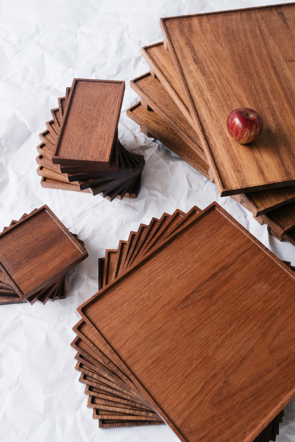 Wooden serving trays of various sizes