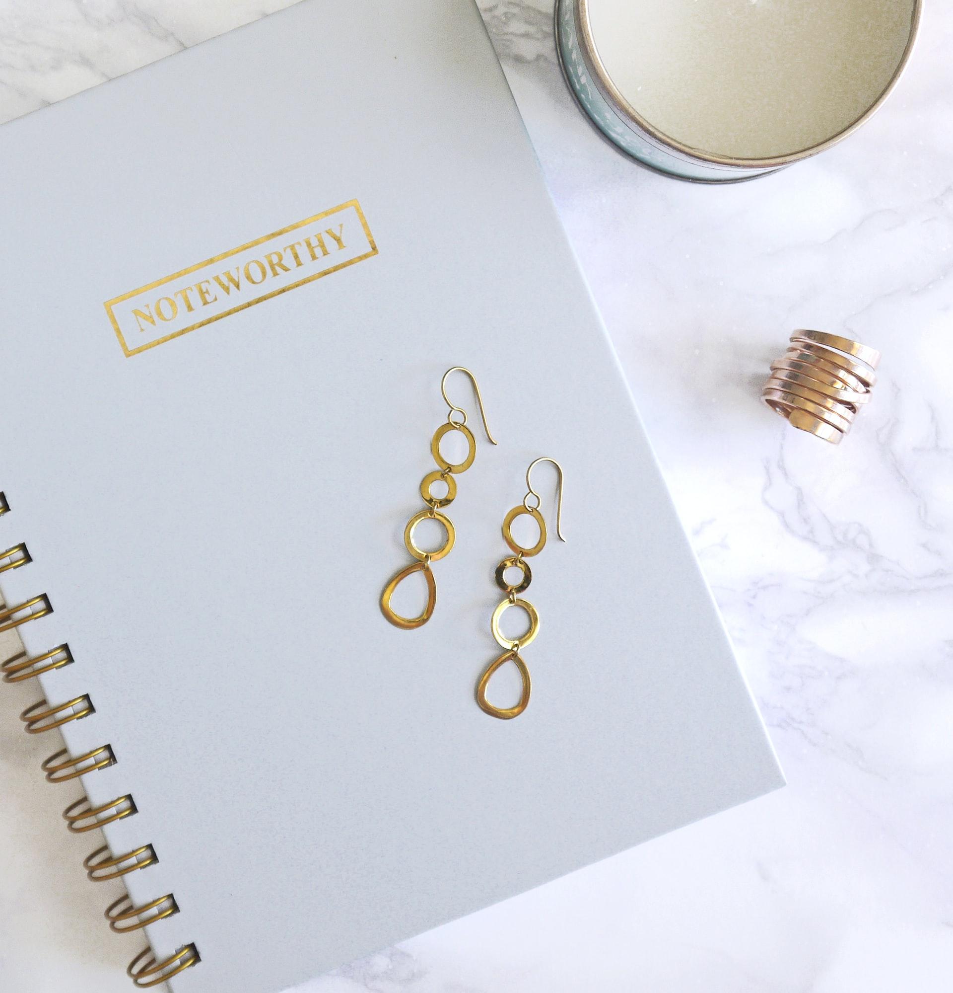 Earrings on a notebook