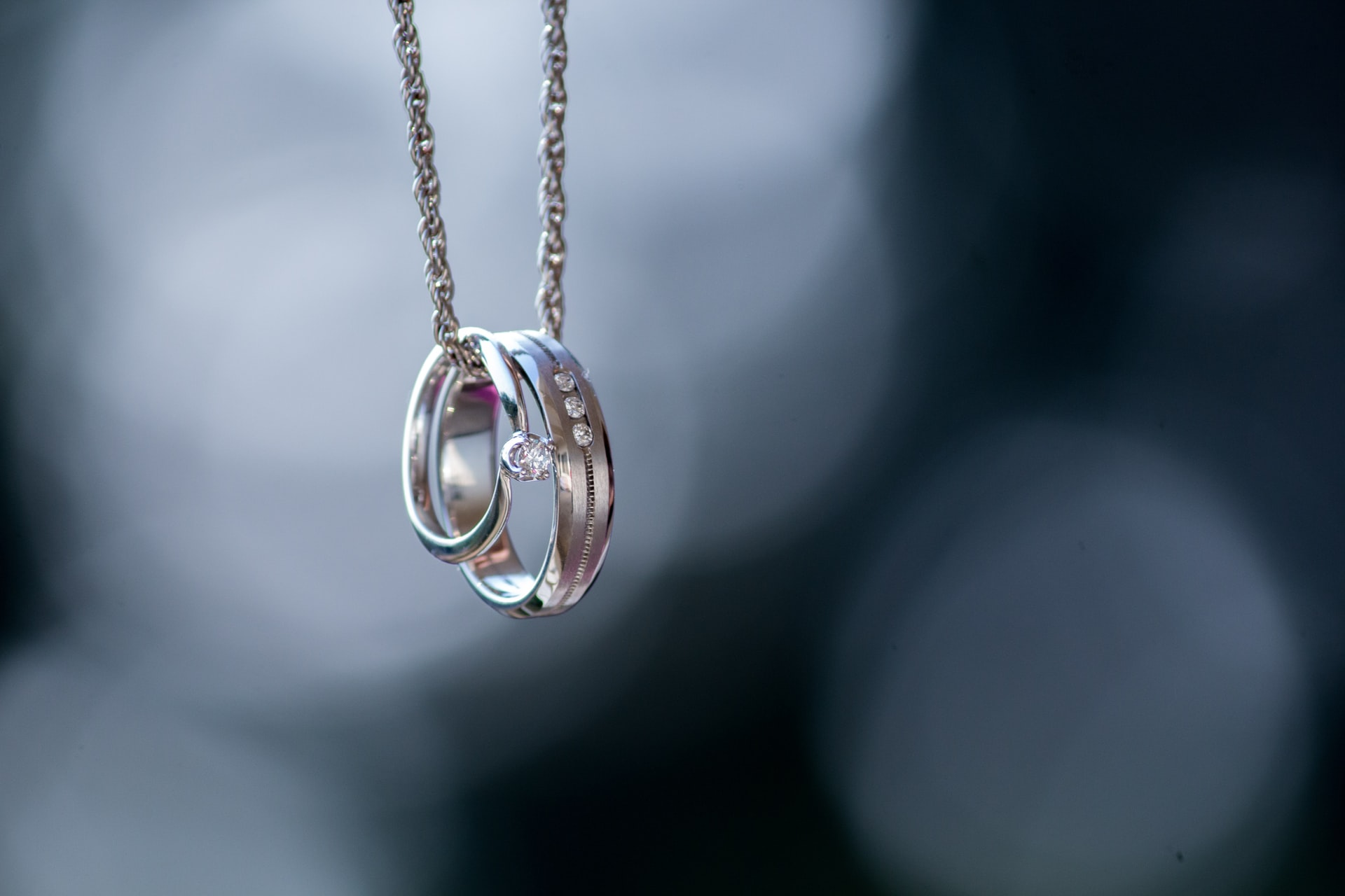 Rings hanging on a necklace