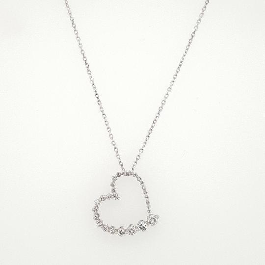 14 K White Gold Diamond Heart