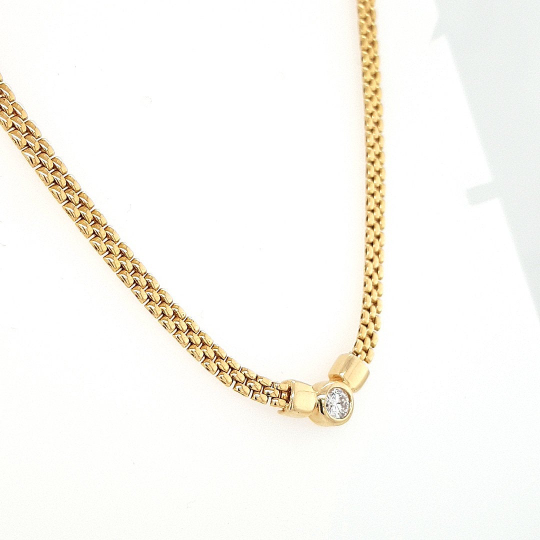 14 K Yellow Gold Diamond Bezel Bismarck Chain