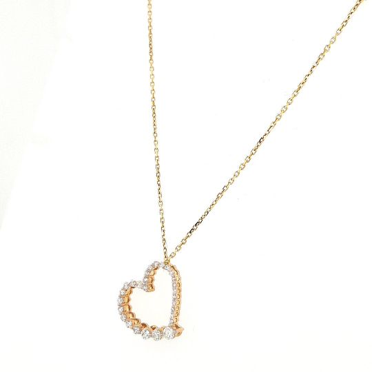 14 K Yellow Gold Diamond Heart