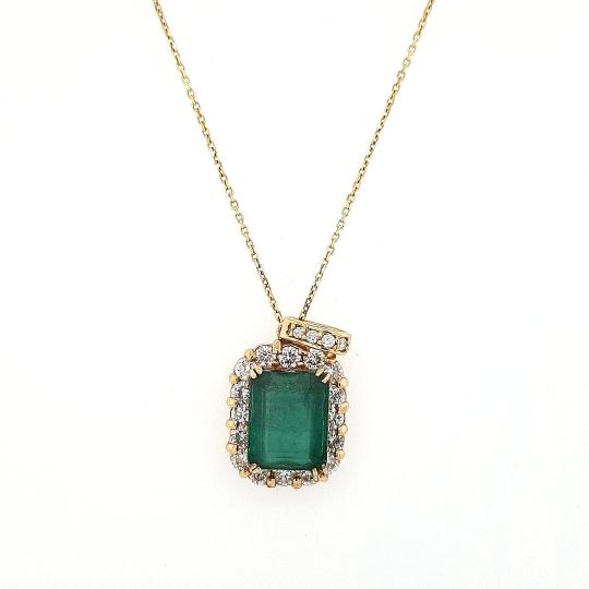 14 K Yellow Gold Large natural Emerald pendant with Hallow Diamonds