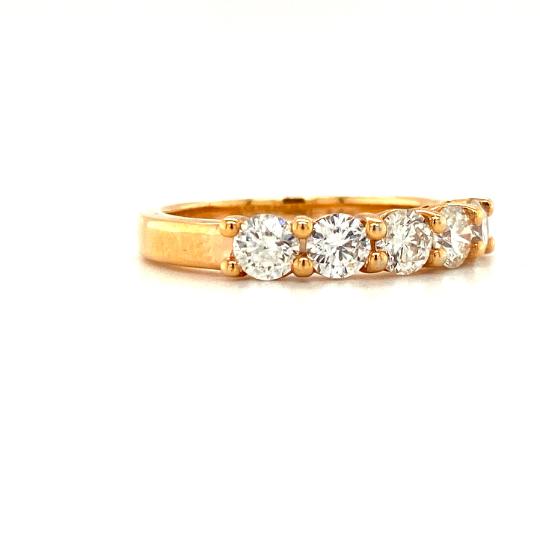 14K Rose Gold 5 Diamond Ring