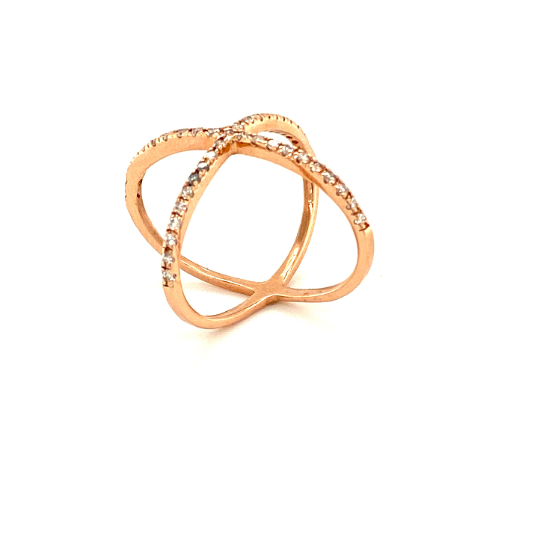 14K Solid Rose Gold X-Band Ring with diamonds
