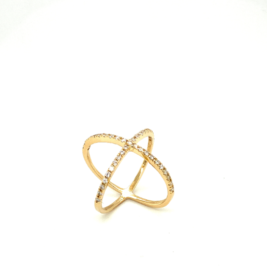 14K Solid Yellow Gold X-Band Ring with diamonds