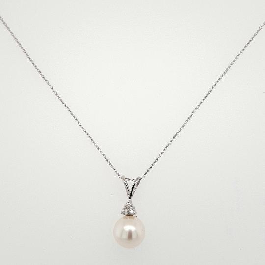 14K White Gold Diamond Pearl Pendant