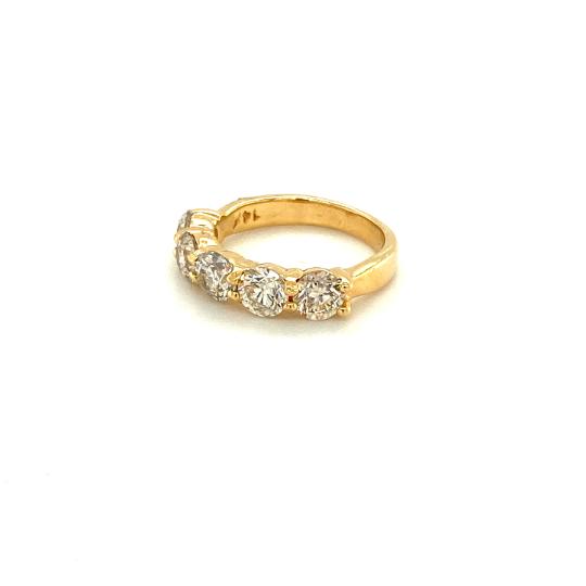 14K Yellow Gold 5 Diamond Ring