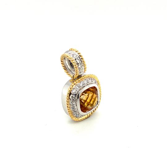 18K White and Yellow Gold Diamond Cushion Shape Pendant