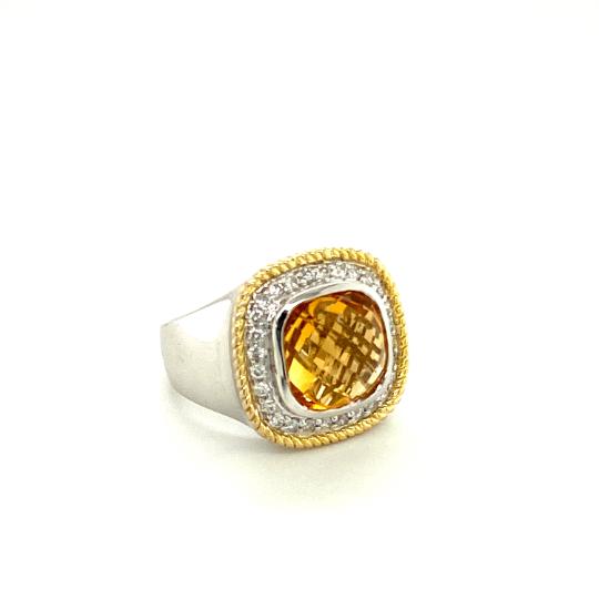 18K White and Yellow Gold Diamond Cushion Shape Ring