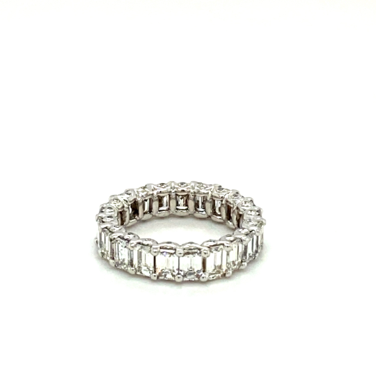 Handcrafted 18K White Gold Emerald Cut Wedding Band