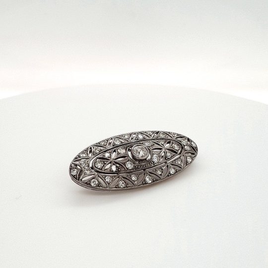 Original Art Decor Silver and Diamond Pin Oval Shape