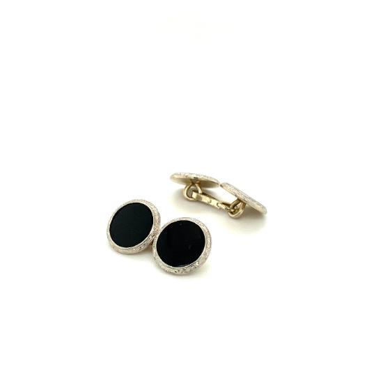 Platinum Black Onyx Vintage Cufflinks