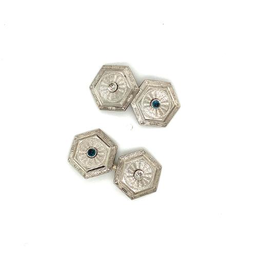 Platinum Hexagon Art décor Cuff links