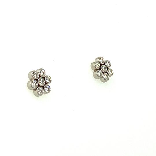 Tiffany & Company Platinum Diamond Flower Earrings Apx.0.64 Ctw