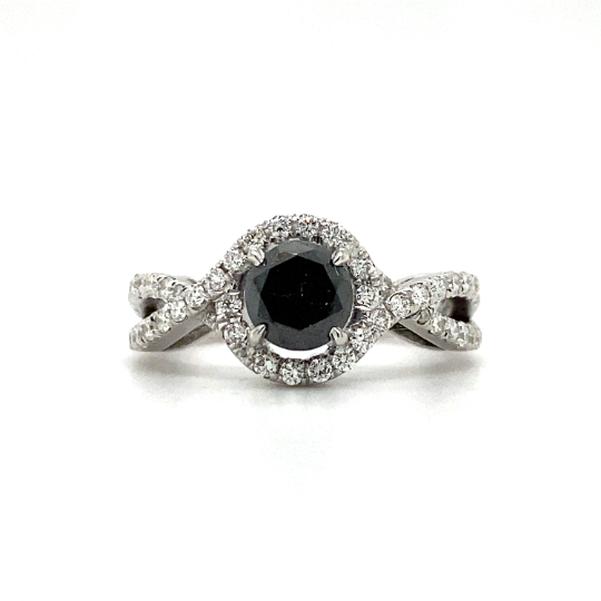 Twisted Halo Diamond Engagement Ring in 18k White Gold
