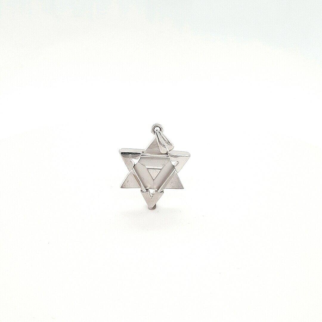 14 K White Gold Star David