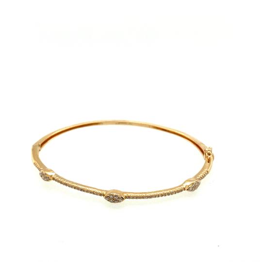 Handcrafted 14K Gold Oval Shape Diamond Bangle