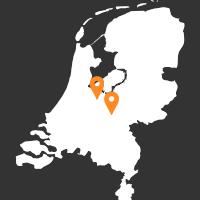 Een kaart van Nederland, waarop aangegeven dat onze showroom zich in Doorn en Baarn bevinden.