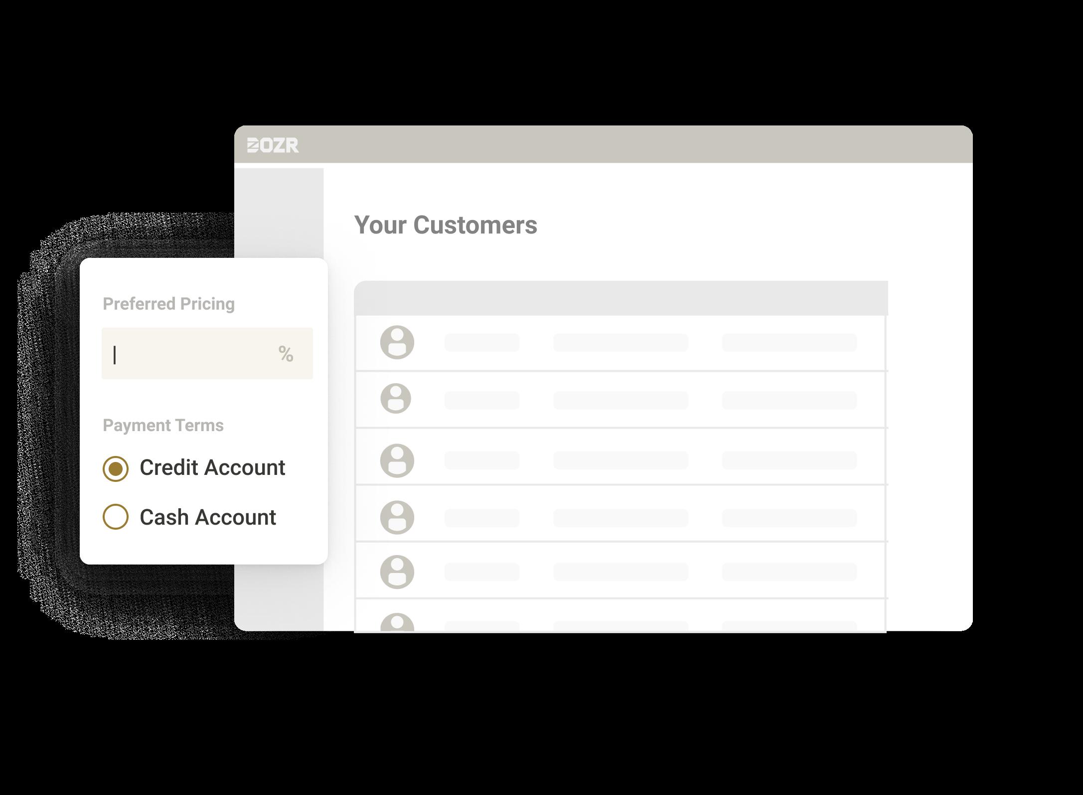 Customer list on DOZR SupplierHub