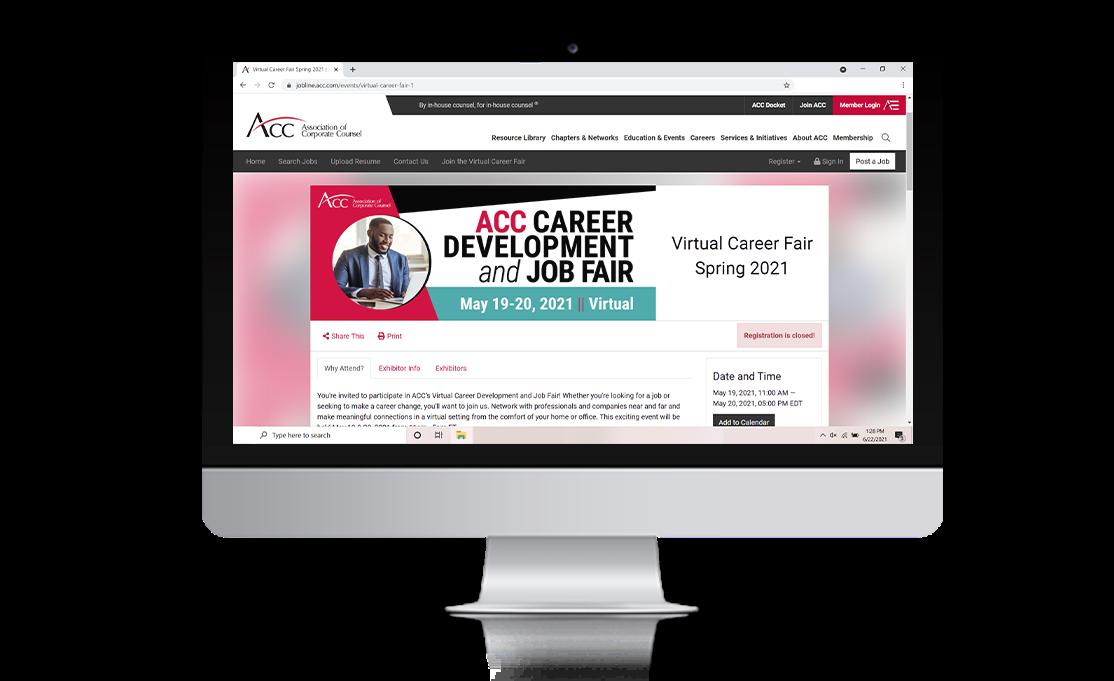 A screenshot of a virtual career fair on a desktop computer screen.